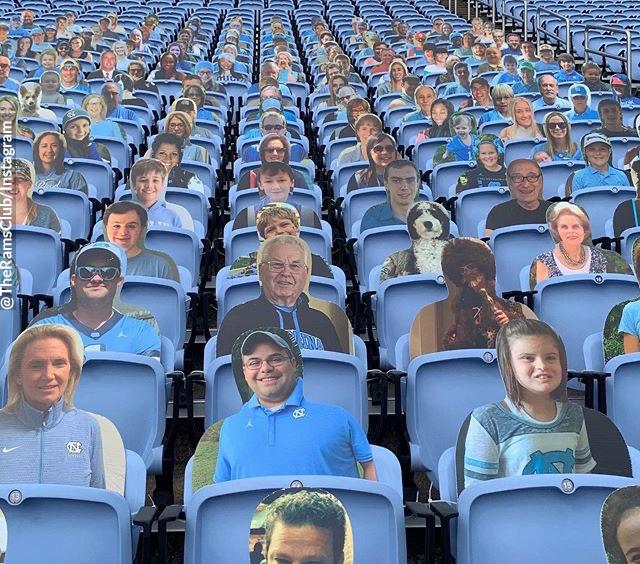 Cardboard cutouts in the seats of Kenan Stadium.