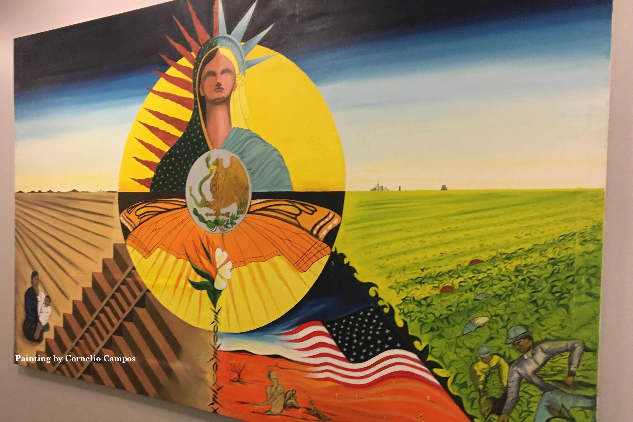 A painting of the Statue of Liberty with images of hispanic life in America and Mexico.